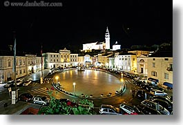 bell towers, churches, cityscapes, europe, horizontal, long exposure, nite, piazza, pirano, slovenia, photograph