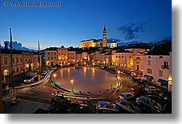 bell towers, churches, cityscapes, europe, horizontal, long exposure, motion blur, nite, piazza, pirano, slovenia, photograph