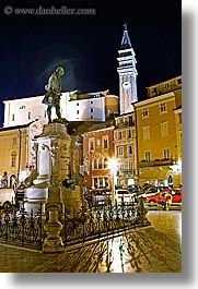 bell towers, churches, cityscapes, europe, long exposure, nite, piazza, pirano, slovenia, statues, vertical, photograph