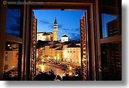 bell towers, churches, cityscapes, europe, horizontal, long exposure, nite, piazza, pirano, slovenia, windows, photograph