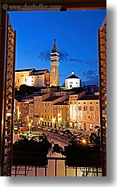 bell towers, churches, cityscapes, europe, long exposure, nite, piazza, pirano, slovenia, vertical, windows, photograph