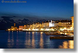 churches, cityscapes, coast, europe, horizontal, long exposure, nite, pirano, slovenia, photograph