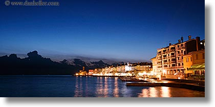 churches, cityscapes, coast, europe, horizontal, long exposure, nite, panoramic, pirano, slovenia, photograph