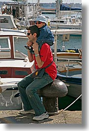 boys, childrens, europe, fathers, men, people, pirano, slovenia, toddlers, vertical, photograph