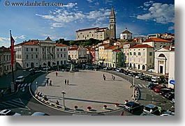 bell towers, cityscapes, clouds, europe, horizontal, overview, piazza, pirano, slovenia, photograph
