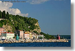 cliffs, europe, horizontal, piran, pirano, shoreline, slovenia, towns, water, photograph
