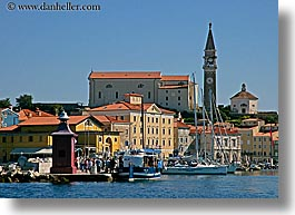 bell towers, boats, churches, cities, cityscapes, europe, horizontal, piran, pirano, ports, shoreline, slovenia, views, water, photograph