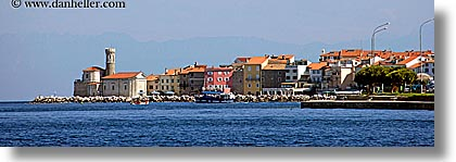 europe, from, horizontal, ocean, panoramic, piran, pirano, shoreline, slovenia, views, water, photograph