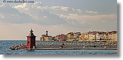 clouds, europe, from, horizontal, ocean, panoramic, piran, pirano, shoreline, slovenia, views, water, photograph