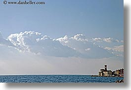 clouds, europe, from, horizontal, ocean, piran, pirano, shoreline, slovenia, views, water, photograph