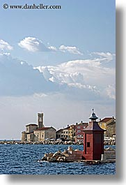 clouds, europe, from, ocean, piran, pirano, shoreline, slovenia, vertical, views, water, photograph