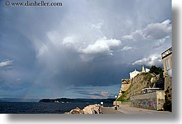 clouds, europe, horizontal, over, piran, pirano, rainbow, shoreline, slovenia, water, photograph