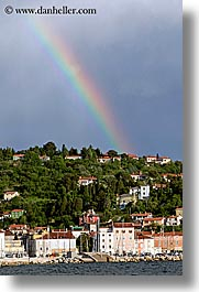 clouds, europe, over, piran, pirano, rainbow, shoreline, slovenia, vertical, water, photograph