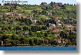 europe, hills, horizontal, pirano, shoreline, slovenia, towns, water, photograph