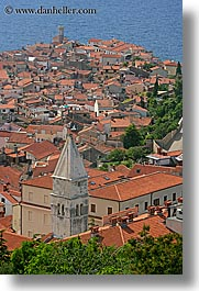 aerials, cities, cityscapes, europe, piran, pirano, slovenia, town view, vertical, water, photograph