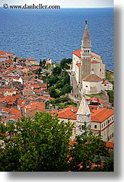 bell towers, churches, cities, cityscapes, europe, ocean, piran, pirano, slovenia, town view, vertical, water, photograph