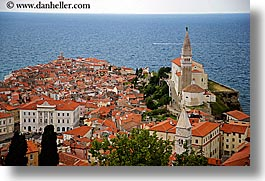bell towers, churches, cities, cityscapes, europe, horizontal, ocean, piran, pirano, slovenia, town view, water, photograph