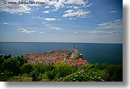 cities, cityscapes, distant, europe, horizontal, ocean, piran, pirano, slovenia, town view, views, water, photograph