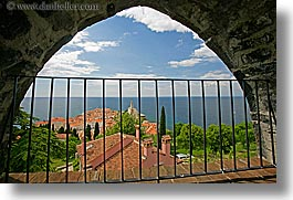 archways, europe, horizontal, pirano, slovenia, town view, towns, views, water, photograph
