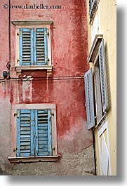 blues, europe, pirano, red, slovenia, vertical, walls, windows, photograph
