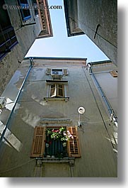 europe, flowers, pirano, slovenia, vertical, windows, photograph