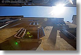 between, buildings, europe, horizontal, pirano, slovenia, sun, sunny, windows, photograph