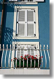 balconies, europe, flowers, pirano, slovenia, vertical, windows, photograph