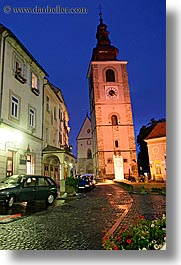 bell towers, buildings, europe, long exposure, nite, ptuj, slovenia, towns, vertical, photograph