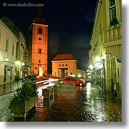 bell towers, buildings, europe, long exposure, nite, ptuj, slovenia, square format, towns, photograph