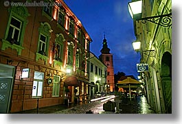 buildings, europe, horizontal, hotels, long exposure, nite, ptuj, slovenia, towns, photograph