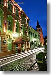 buildings, europe, hotels, long exposure, motion blur, nite, ptuj, slovenia, towns, vertical, photograph