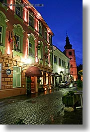 buildings, europe, hotels, long exposure, nite, ptuj, slovenia, towns, vertical, photograph