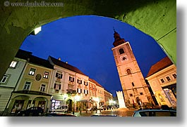 archways, bell towers, buildings, europe, horizontal, long exposure, nite, ptuj, slovenia, towns, photograph