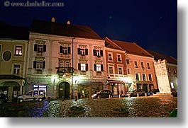 buildings, europe, horizontal, long exposure, nite, ptuj, slovenia, towns, photograph