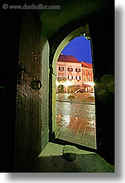 buildings, doors, doorways, europe, long exposure, nite, ptuj, slovenia, towns, vertical, photograph