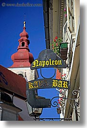 bars, bell towers, europe, ptuj, signs, slovenia, vertical, photograph
