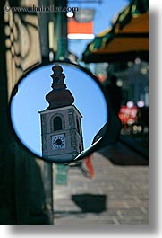 bell towers, europe, mirrors, ptuj, slovenia, vertical, photograph