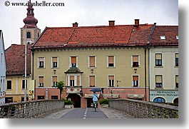 biking, bridge, europe, horizontal, ptuj, slovenia, photograph