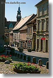 buildings, europe, flowers, ptuj, slovenia, vertical, photograph
