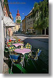 bell towers, cafes, europe, outdoors, ptuj, slovenia, vertical, photograph