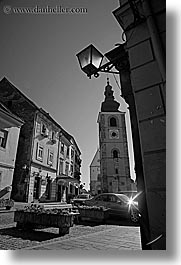 black and white, cobblestones, europe, lamp posts, ptuj, slovenia, towns, vertical, photograph