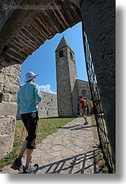 bell towers, churches, entering, europe, gates, scenics, slovenia, vertical, photograph