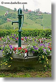 europe, flowers, slovenia, styria, vertical, water pump, photograph