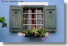 blues, europe, flowers, horizontal, slovenia, styria, walls, windows, photograph