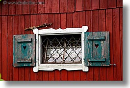 barn, europe, horizontal, red, slovenia, styria, windows, photograph