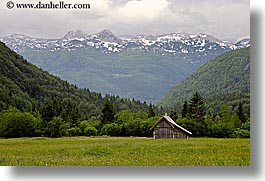 barn, europe, fields, horizontal, mountains, slovenia, snowcaps, triglavski narodni park, photograph