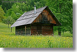barn, europe, fields, horizontal, slovenia, triglavski narodni park, wildflowers, photograph