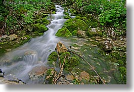 europe, flowing, forests, horizontal, lush, slovenia, slow exposure, stream, triglavski narodni park, photograph