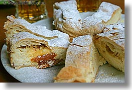 desserts, europe, foods, horizontal, powdered, slovenia, strudel, sugar, triglavski narodni park, photograph