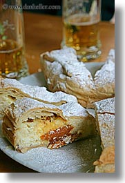 desserts, europe, foods, powdered, slovenia, strudel, sugar, triglavski narodni park, vertical, photograph